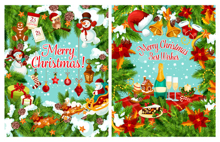 Merry Christmas greeting card for winter holiday celebration happy wishes. Vector Santa New Year gifts, Christmas tree wreath of golden bell decoration, champagne in poinsettia garland in snow