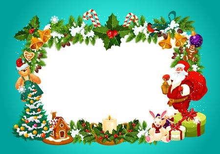 Cadre pour carte de voeux de Noël avec un espace vide pour les souhaits de fête. Biscuits en pain d'épice et bougie, coffret cadeau et Père Noël, jouets et bonbons de canne à sucre. Jingle bells et vecteur d'arbre de Noël décoré Vecteurs