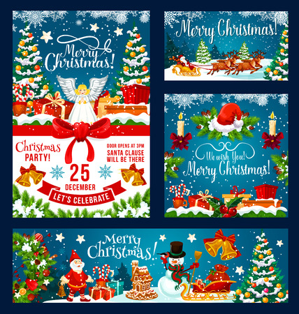 Christmas party invitation posters and banners design of X-mas decoration ornaments, fir tree wreath and holly ribbon. Vector Santa gifts in sow on blue background New Year season Standard-Bild - 109651111
