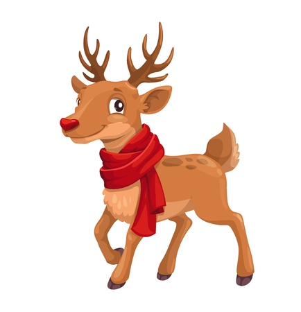 Christmas reindeer in red Santa scarf. Vector cartoon isolated deer smile, Xmas and New Year winter holiday celebration greeting card design Ilustração