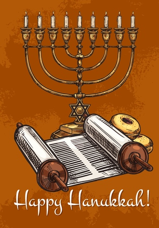 Happy Hanukkah greeting card of traditional Menorah candle with David Star symbol. Vector sketch design of Jewish religious holiday celebration symbols Torah scroll and biscuits Banque d'images - 108998258