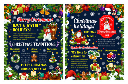 Merry Christmas and New Year holidays greeting poster. Santa with gift and snowman with Xmas tree festive card, framed with holly wreath, bell and snowflake, star, ball and ribbon, candle and cookie Illustration