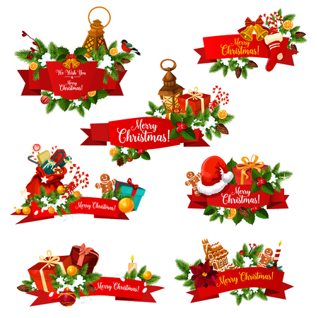 Merry Christmas best wishes lettering icons on red ribbons for winter holiday greeting card design. Vector set of New Year decorations for Christmas tree ornaments and ginger cookie and Santa gifts