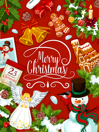 Merry Christmas greeting card of Santa gifts and decorations of angel and golden bell ornament. Vector gingerbread cookie, candle and 25 December calendar, snowman with Santa gifts on red background