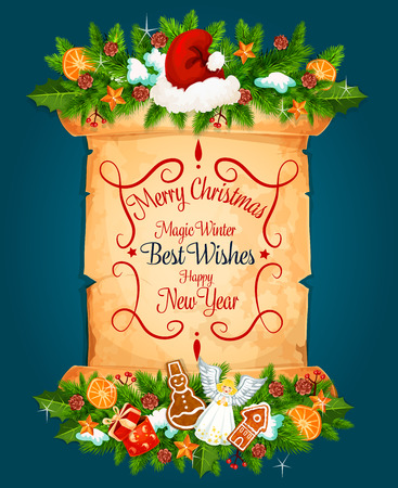 Merry Christmas best wishes for Happy New Year holiday greeting card. Vector Christmas decorations and holly wreath with lettering on old paper scroll letter and Santa hat on blue snow background 일러스트