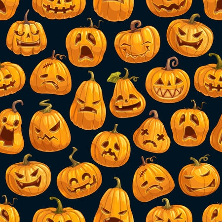 Halloween cartoon pumpkins pattern background. Vector Happy Halloween greeting card and trick or treat party seamless design of pumpkin lantern with skull monster fire eyes and evil face carving