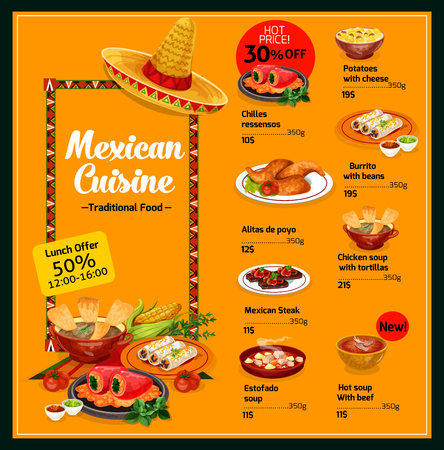 Mexican cuisine food menu template with dishes. Potatoes with cheese and chilles ressensos, burrito with beans and alitas de poyo, chicken soup with tortillas, estofado or beef soup and steak vector Archivio Fotografico - 128161330