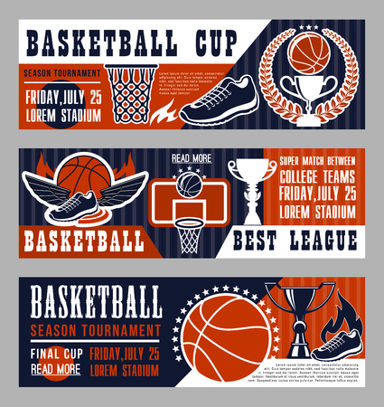 Basketball sport league banner with trophy cup and ball. Vintage brochure for basketball championship or tournament, team game on field. Sneakers with wings, basket and prize in laurel wreath vector