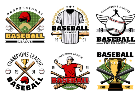 Baseball sporting heraldic symbols with crossed bats and balls, trophy cup and uniform, player and wings. Team game, sport items and prize on icons. Professionals club badges vector isolated