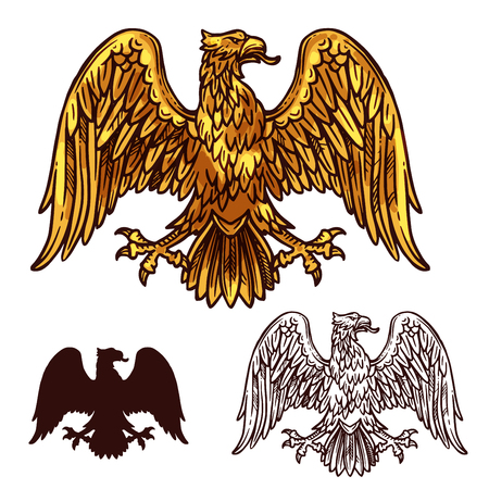 Heraldic golden eagle or griffin with tongue, spread wings and claws. Vector vintage sketch symbol of gryphon vulture mystic bird silhouette for royal emblem, shield or coat of arms design