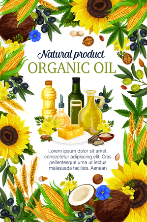 Cooking oils poster for farmer market product. Vector of extra virgin olive, sunflower seed or coconut and flax or corn, wheat and hemp oil in plastic and glass bottles for natural organic food Ilustracja