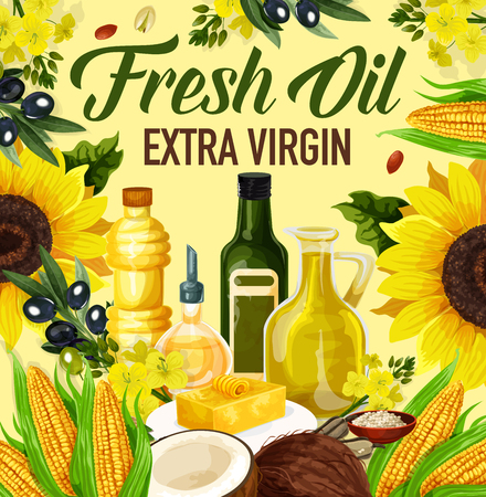 Natural oil made of sunflower seeds, olive and corn, peanuts and linseed, coconut and rapse. Vector extra virgin oils used in cosmetics, pharmaceuticals and soaps, for frying food and dressing salads Ilustracja