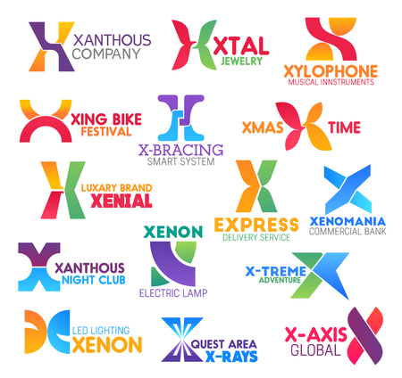 Letter X icons and signs for business. Xanthous and xtal, xylophone and xing bike, x-bracing and xmas, xenial and express, xenomania and xenon, x-treme and x-ray with x-axis symbols vector isolated