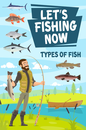 Fishing sport poster of fisherman fishing at river or lake shore. Vector fisher in rubber boots with pike and salmon, trout and perch, catfish and herring. Vector wooden boat with oars in water
