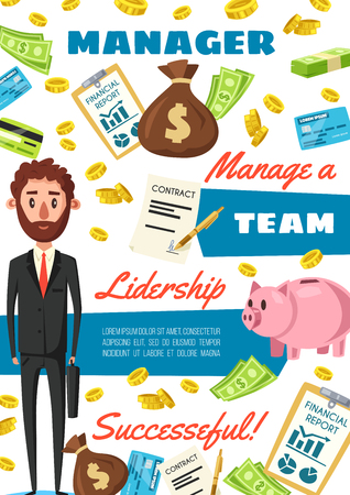 Business manager, clerk or financial director profession. Vector cartoon man in office suit with money in piggybank and on credit card, dollar investments success and financial report