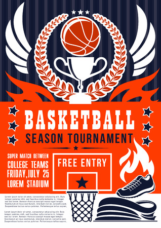 Basketball match season tournament announcement, sport game event. Vector basketball team or league championship design of ball, shoe, victory cup and wings on arena stadium Illusztráció