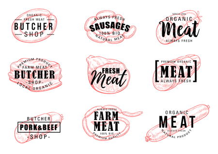 Meat shop icons with signs. Grocery market, butcher shop vector symbols of fresh veal and smoked pork, sausage and beef meatloaf, grilled wurst and salami from farm, ham and bbq with lettering