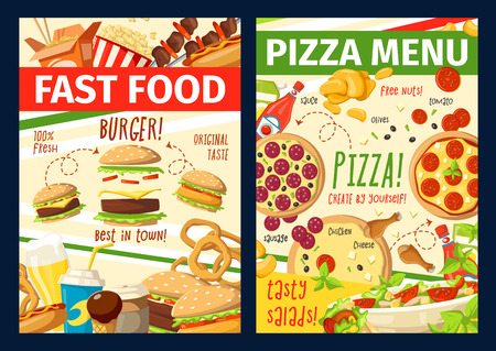 Fast food menu, fastfood restaurant, pizzeria or bistro takeaway and delivery. Vector pizza, cheeseburger or hot dog and Asian noodles, chicken and burger, kebab barbecue and onion rings with fries