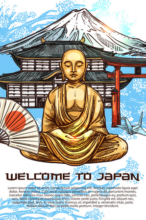 Welcome to Japan poster for travel agency. Gold Buddha statue in lotus pose and fan with Japanese flag, traditional Oriental building with pagoda and high mountain with snowy top sketch vector