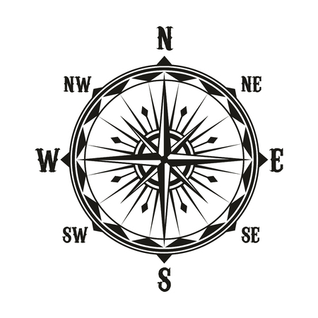 Rose of winds nautical navigation compass with direction arrows. Vector vintage marine and sailing cartography navigator symbol with North, South, East and West pointers 向量圖像