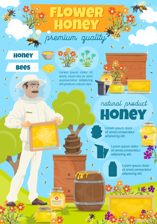 Beekeeping poster for apiary and beekeeper with info text. Man with honeycomb taking honey from beehive with bees swarm flying around on beekeeping farm. Jars and barrels on grass field vector Illustration