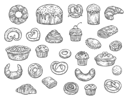 Bread, buns, cakes and pastry desserts vector sketch. Isolated wheat bagel, toast or croissant and bun, sweet chocolate donut and pie with gingerbread cookie biscuits. Bakery shop Illusztráció