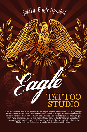 Eagle mascot for heraldry or tattoo studio poster. Mythical bird with golden plumage or feathers and laurel wreath. Griffin with spread wings as symbol of power and strength, olive branches vector