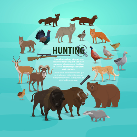 Hunting animal poster with rifle and lighter. Vector of hunter prey, bear and buffalo, badger and goat, deer and lynx, pheasant and wolf, marten and fox, duck and goose, jaguar and grouse vector Illustration
