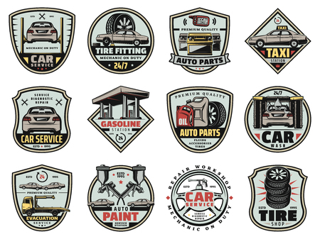 Car service, gas station and auto spare parts shop icons. Vector vehicle painting, engine tuning and wheel tire pumping, oil change and brake fluids or car wash system Illustration