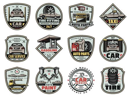 Symbole für Autoservice, Tankstelle und Autoersatzteilgeschäft. Vektor Fahrzeuglackierung, Motortuning und Radreifenpumpen, Ölwechsel und Bremsflüssigkeiten oder Autowaschsystem Vektorgrafik