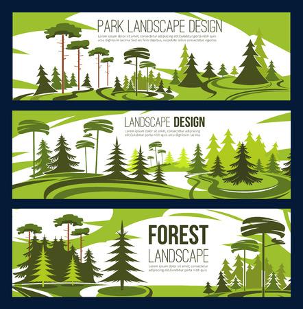 Diseño de paisajismo o servicio de horticultura y plantación urbana. Diseño de proyecto verde vectorial de jardinería ecológica de la ciudad, árboles forestales o plazas de parques y parques de naturaleza ecológica