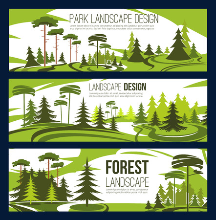 Landscaping design or urban horticulture and planting service. Vector green project design of city ecology gardening, forest trees or parkland squares and parks of eco nature