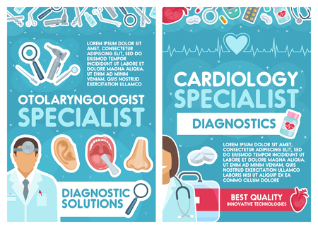 Cardiology and otolaryngology medical clinic. Vector cardiologist and otolaryngologist doctors with instruments, human organs, treatment medicine pills and cardiogram equipment or otoscope