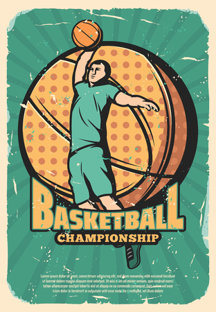 Basketball game league retro poster with player and leather ball. Vintage brochure for sport championship or tournament and team activity, jumping sportsman in sportswear shabby leaflet vector