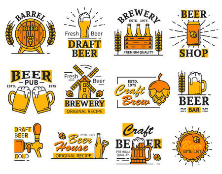 Beer signs and icons vector. Beer house and bar, pub or brewery, tavern and restaurant with mug of alcohol drink with foam, wooden barrel and wheat spikes, hop and wind mill, tap with drink vector