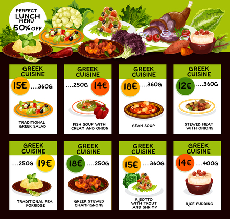 Cuisine of Greece cafe or restaurant menu of national food. Greek salad and fish or bean soups with cream and onion, stewed meat and pea porridge, champignons and risotto, rice pudding vector