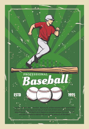 Baseball sport retro poster player running for ball and wooden bat. Team game for professional sportsmen, tournament announcement. Fit man in uniform and cap on grass field vector, champion league Foto de archivo - 109367781