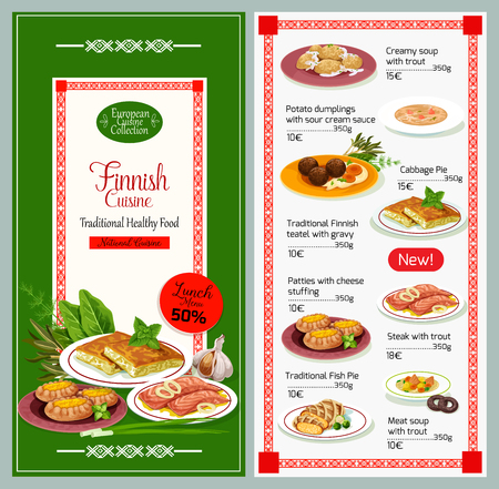 Finnish cuisine traditional food menu. Vector trout creamy soup, potato dumplings with sour cream and cabbage pie, teatel with gravy sauce and cheese patties dishes