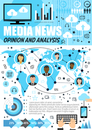 Media news analysis infographics. Vector mass media review and statistics, public opinion on world map and magazine readers percent share, diagrams on news broadcasting online technology