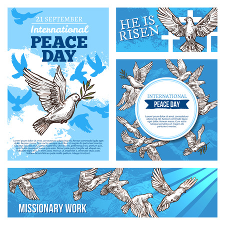 Peace day international holiday sketch banners with symbolic white doves. Pigeons as holy symbols for worldwide celebration and missionary works. Domestic or wild bird with spread broad wings vector