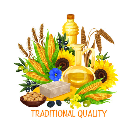 Natural cooking oil and butter, vegetable plant seeds and nuts, cooking and salad dressing. Vector coconut butter, oil bottle from peanut or hazelnut and extra virgin olive or sunflower Ilustracja
