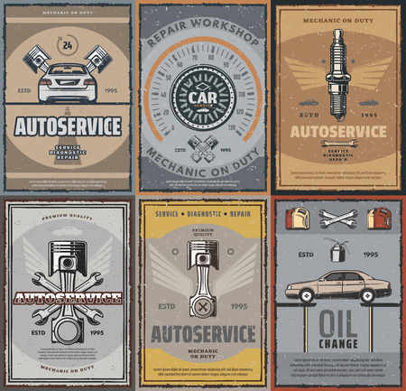 Car service, auto spare parts shop and repair workshop retro posters. Vector vintage design for transport engine, speedometer or sparks plug, oil change and mechanic service or garage station