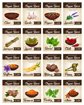 Hot spices price cards templates. Vector clove and garlic, pepper and lavender, lemongrass and laurel, sorrel and chilli, saffron and horseradish, nutmeg and poppy, turmeric and parsley, anise Иллюстрация