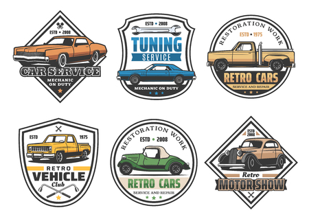 Car repair service retro icons for automobile tuning or restoration works. Vector signs set of old transport and wrenches, garage station and motor show, mechanic on duty and vehicle club isolated Stock Illustratie