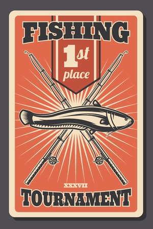 Fishing tournament retro poster, first place winner announcement or fisherman sport championship. Vector vintage fisher rod with hooks and catfish fsh catch Banco de Imagens - 128161355