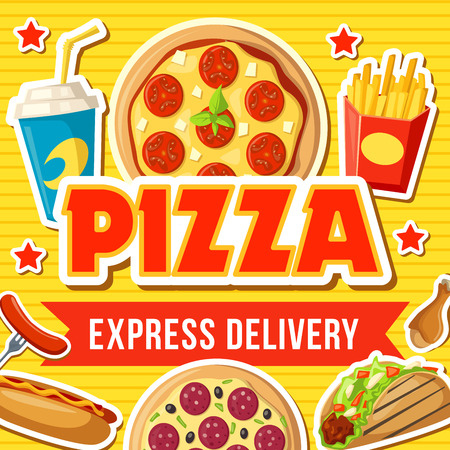Pizza and fast food burgers, sandwiches express delivery. Italian pizzeria restaurant or bistro cafe. Vector fries, soda drink and hot dog, burrito or doner