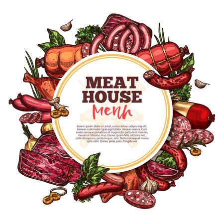 Fleischhaus-Skizzenmenü, Premium-Produkte vom Bauernhof. Vektorfleisch und Würstchen Cervelat, Peperoni, Schweinefilet oder Rindersteak und Bruststück oder Schinkenspeck mit Gourmetgewürzen. Metzgerei Thema Vektorgrafik