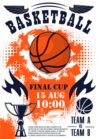 Basketball sport final cup competition poster heavy ball and trophy. Championship or tournament announcement, team game invitation leaflet. Basketball sporting items and prize silhouette vector Ilustração