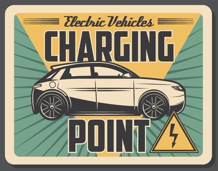 Charging point station, electro car or accumulator battery charge service. Vector transport vehicle, retro style signboard
