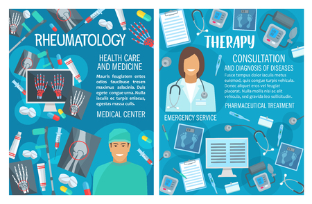 Rheumatology and therapy, medical consultation. Vector rheumatologist doctor with nurse, trauma X-ray for joint and bones, diagnostic and treatment pills, syringe and scalpel